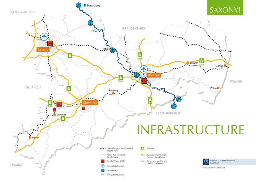"Map ""Saxony's Traffic Infrastructure"""