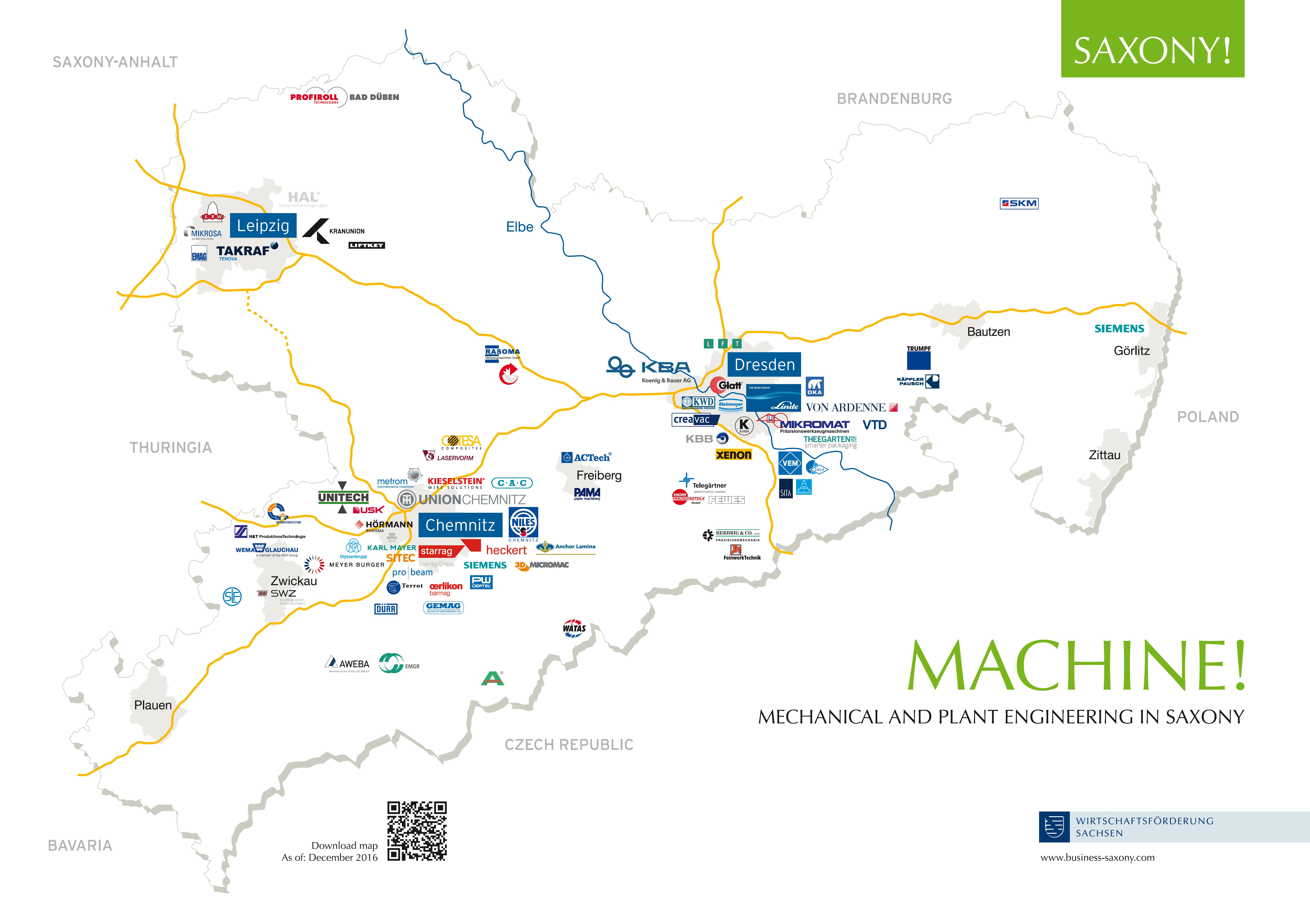 "Map ""Mechanical and Plant Engineering in Saxony"" - Company Logos of Selected Firms"