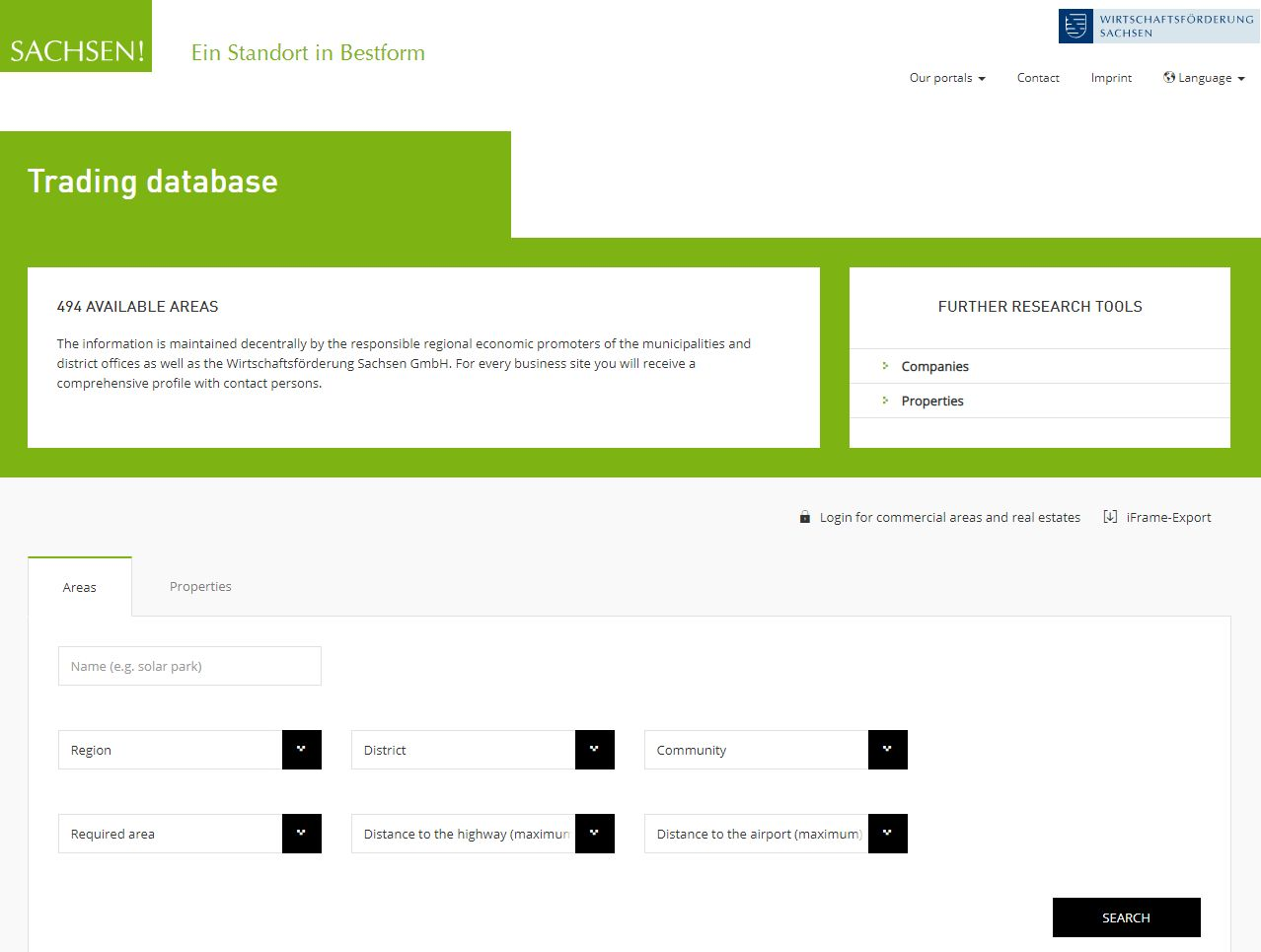Screenshot Saxony's industrial real estate online data bank